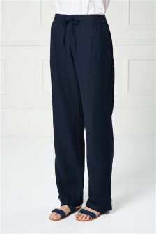 Linen Blend Parallel Trousers