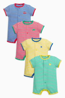 Stripe Short Leg Rompers Four Pack (0mths-2yrs)