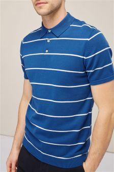 Трикотажная рубашка поло с коротким рукавом в полоску