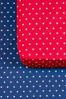 2 Pack Stars Printed Fitted Sheets