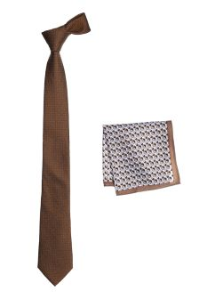 Tie And Patterned Pocket Square Set