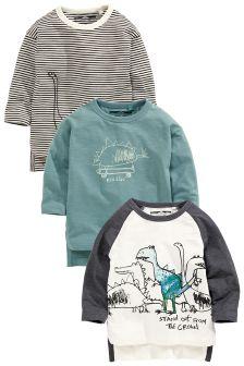 Scribble Dinosaur Long Sleeve T-Shirts Three Pack (3mths-6yrs)