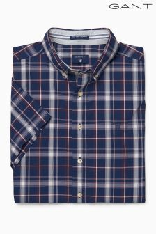 Gant Navy/Red Check Short Sleeved Shirt