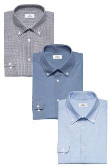Набор из трех рубашек обычного кроя с воротником на пуговицах