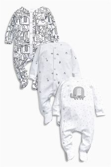 Elephant Sleepsuits Three Pack (0mths-2yrs)
