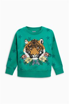 Tiger Embroidered Crew (3-16yrs)