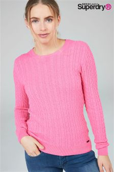 Superdry Fluorescent Pink Luxe Cable Knit