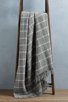 Grey Pure New Wool Throw