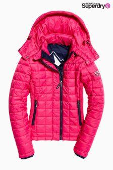 Superdry Pink Hooded Box Quilt Fuji Jacket