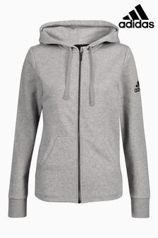 adidas Grey Essential Solid Full Zip Hoody