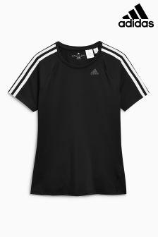 adidas Black 3 Stripe Tee