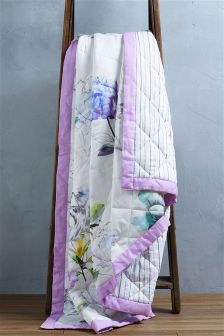 Floral Cotton Sateen Quilted Throw