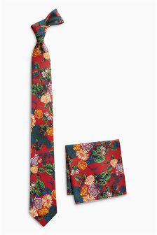 Галстука и карманный платок с цветочным принтом (комплект)