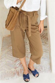 Tie Waist Crop Wide Leg Trousers