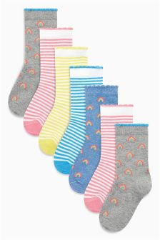 Rainbow Stripe Socks Seven Pack (Younger Girls)
