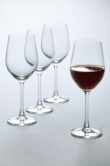 Set Of 4 Crystal Red Wine Glasses