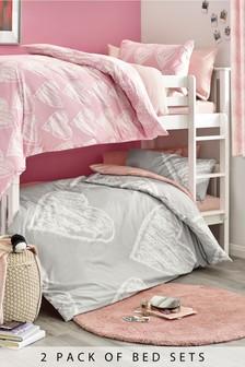 Set de pat 2 piese cu model inimioare roz și gri