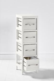 White Wooden Slat 4 Drawer Unit