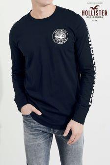 Темно-синяя футболка с длинным рукавом и логотипом Hollister