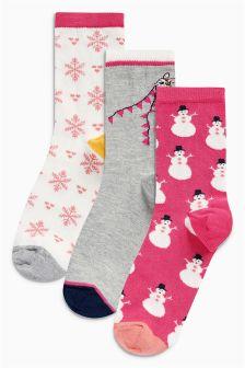 Snowman Pattern Ankle Socks Three Pack