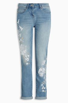 Embroidered Relaxed Skinny Jeans