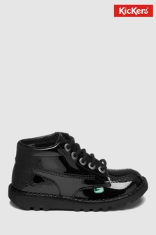 Kickers® Black Patent Kick High Lace-Up Shoe