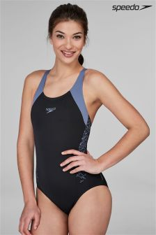 Speedo® Black And Vita Grey Boom Splice Racerback