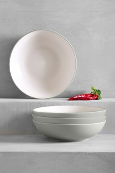 Set Of 4 Grey Hutton Pasta Bowls