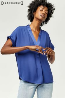 Warehouse Bright Blue Satin Mix Blouse