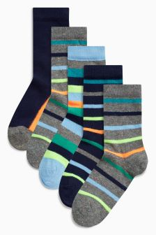 Bright Stripe Socks Five Pack (Younger Boys)