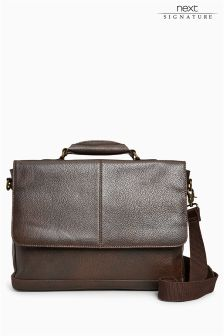 Signature Leather Panelled Briefcase