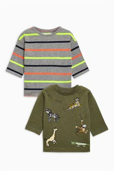 Long Sleeve Embroidered Animals T-Shirts Two Pack (3mths-6yrs)