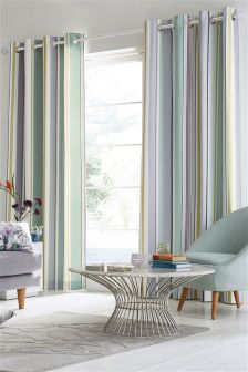 Pastel Sateen Stripe Eyelet Curtains