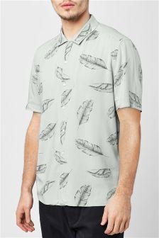 Kurzärmeliges Hemd mit Blattmuster
