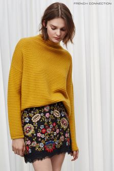 French Connection Yellow Lena Knits High Neck Jumper