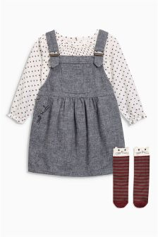 Textured Pinny, Blouse And Cat Socks Set (3mths-6yrs)