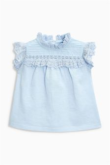 Lace Short Sleeve Blouse (3mths-6yrs)