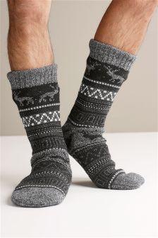 Fairisle Pattern Slipper Socks