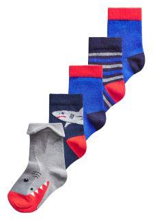 3D Shark Socks Five Pack (Younger Boys)