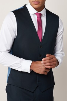 Эластичный саржевый костюм: жилет