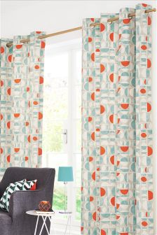 Teal Broken Geo Print Eyelet Curtains Studio Collection By Next