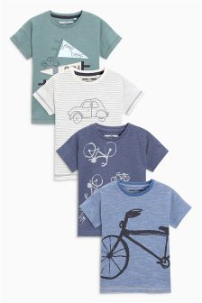 Embroidered Car And Bike Short Sleeve T-Shirts Four Pack (3mths-6yrs)