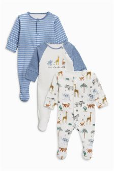 Animal Print Sleepsuits Three Pack (0个月-2岁)