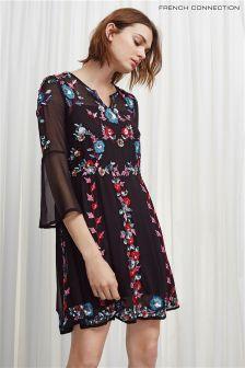 Czarny, kwiecista sukienka z długim rękawem French Connection Multi Edith
