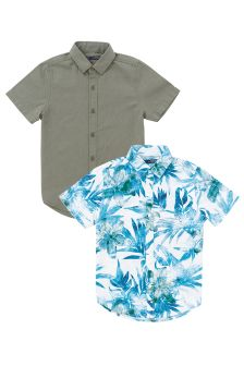 Linen Blend Shirts Two Pack (3-16yrs)