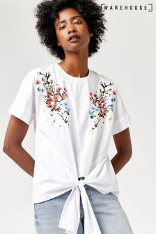 Warehouse White Freida Embroidered Cotton Tie Front Top