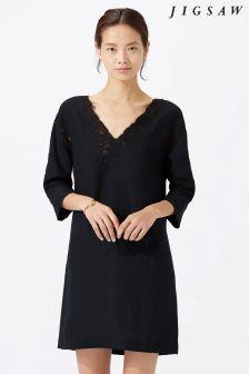 Jigsaw Black Floral Embroidered Linen Dress