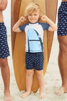 Shark Swim Shorts And Vest Two Piece Set (3个月-6岁)