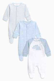 Cloud Print Sleepsuits Three Pack (0mths-2yrs)