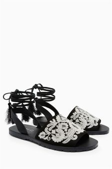 Two Part Ankle Wrap Sandals
